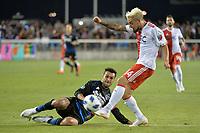 San Jose, CA - Wednesday June 13, 2018: Chris Wondolowski, Diego Fagundez during a Major League Soccer (MLS) match between the San Jose Earthquakes and the New England Revolution at Avaya Stadium.
