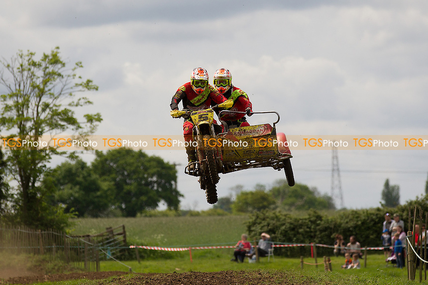 Neil Camlbell and Craig Parmenter in action during ACU British Sidecar Cross Championship Round Three at Wattisfield Hall MX Track on 22nd May 2016