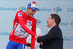 Rudy Molard (FRA) Groupama-FDJ retains the race leaders Red Jersey at the end of Stage 8 of the La Vuelta 2018, running 195.1km from Linares to Almaden, Spain. 1st September 2018.<br /> Picture: Unipublic/Photogomezsport | Cyclefile<br /> <br /> <br /> All photos usage must carry mandatory copyright credit (&copy; Cyclefile | Unipublic/Photogomezsport)