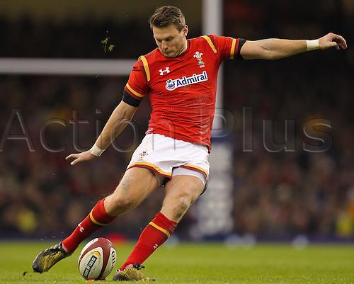 26.02.2016. Principality Stadium, Cardiff, Wales. RBS Six Nations Championships. Wales versus France. Wales Dan Biggar kicks a penalty