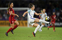 Orlando City, FL - Wednesday March 07, 2018: Alex Morgan, Izzy Christiansen during a 2018 SheBelieves Cup match between the women's national teams of the United States (USA) and England (ENG) at Orlando City Stadium.
