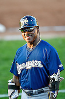 Helena Brewers coach Reggie Williams (21) during the game against the Ogden Raptors in Pioneer League action at Lindquist Field on July 16, 2016 in Ogden, Utah. Helena defeated Ogden 13-5. (Stephen Smith/Four Seam Images)