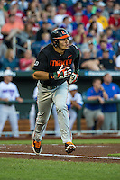 Willie Abreu (13) of the Miami Hurricanes runs during a game between the Miami Hurricanes and Florida Gators at TD Ameritrade Park on June 13, 2015 in Omaha, Nebraska. (Brace Hemmelgarn/Four Seam Images)
