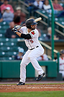 Rochester Red Wings center fielder Ryan LaMarre (5) at bat during a game against the Pawtucket Red Sox on May 19, 2018 at Frontier Field in Rochester, New York.  Rochester defeated Pawtucket 2-1.  (Mike Janes/Four Seam Images)