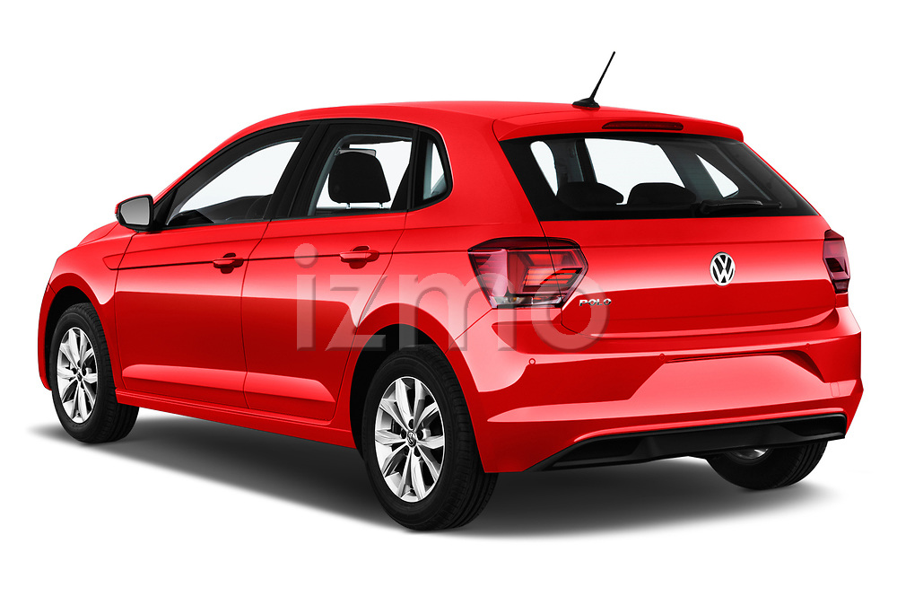 Car pictures of rear three quarter view of a 2018 Volkswagen Polo High Line 5 Door Hatchback angular rear