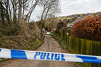 Pictured: The lane leading to the house in Aberaeron, where the remains of a woman have been discovered in Ceredigion County, Wales, UK. Wednesday 21 March 2018<br /> Re: Human remains have been found in a house following a police investigation to find a missing woman.<br /> Police were called to the property in Aberaeron, west Wales after a woman in her 50s collapsed.<br /> Police also discovered the woman's mother, in her 80s, who had not been seen for some time.<br /> The women were named locally as Gaynor and Valerie Jones, with police currently treating the death as unexplained.<br /> The two women have ben described as &quot;reclusive&quot; by neighbours and the home they shared as being &quot;heavily cluttered&quot;.