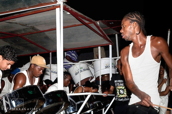 "Trinidad Carnival, Bands practicing, Silver Stars, Conductor, Donell Thomas or ""Bravo"""