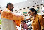 Spirtual Leader Ram Hardowar giving blessings at service at Shri Surya Narayan Mandir in Jamaica Queens, NY on Sunday December 7, 2008.