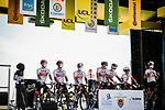 UAE Team Emirates at sign on before the start of Stage 10 of Tour de France 2020, running 168.5km from Ile d'Oléron to Ile de Ré, France. 8th September 2020.<br /> Picture: ASO/Pauline Ballet | Cyclefile<br /> All photos usage must carry mandatory copyright credit (© Cyclefile | ASO/Pauline Ballet)