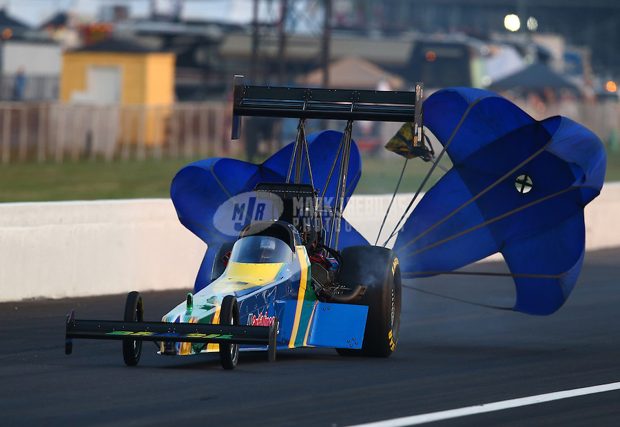 Aug. 30, 2013; Clermont, IN, USA: NHRA top fuel dragster driver Sidnei Frigo during qualifying for the US Nationals at Lucas Oil Raceway. Mandatory Credit: Mark J. Rebilas-