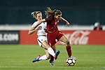 WASHINGTON, DC - MARCH 07: Sandie Toletti (FRA) (7) fouls Tobin Heath (USA) (17). The United States Women's National Team hosted the France Women's National Team as part of the SheBelieves Cup on March 7, 2017, at RFK Stadium in Washington, DC. France won the game 3-0.