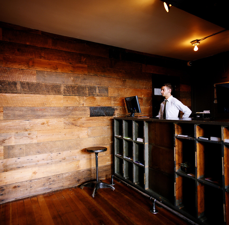 The check-in desk at The Ace Hotel in downtown Portland, a hip budget boutique hotel.