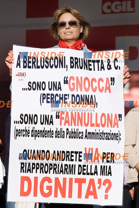 CGIL FUNZIONE PUBBLICA MANIFESTAZIONE NAZIONALE DEI LAVORATORI PUBBLICI E DELLA SCUOLA ..ROMA 8 OTTOBRE 2011..PHOTO  SERENA CREMASCHI INSIDEFOTO..............................