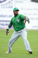 Vermont Lake Monsters outfielder B.J. Boyd (23) during practice before a game against the Batavia Muckdogs on July 10, 2013 at Dwyer Stadium in Batavia, New York.  Batavia defeated Vermont 8-6.  (Mike Janes/Four Seam Images)