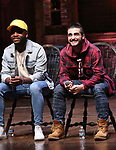 "Deon'te Goodman and Giuseppe Bausilio during the eduHAM Q & A before The Rockefeller Foundation and The Gilder Lehrman Institute of American History sponsored High School student #EduHam matinee performance of ""Hamilton"" at the Richard Rodgers Theatre on December 11, 2019 in New York City."