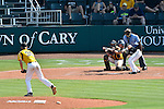 4 JUNE 2016:  Kavan Thompson (2) of Nova Southeastern University bunts a pitch from Matt Ulrich (35) of Millersville University during the Division II Men's Baseball Championship held at the USA Baseball National Training Complex in Cary, NC.  Nova Southeastern University defeated Millersville University 8-6 to win the national title.  Grant Halverson/NCAA Photos