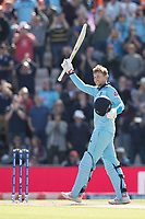 Joe Root (England) acknowledges his century during England vs West Indies, ICC World Cup Cricket at the Hampshire Bowl on 14th June 2019