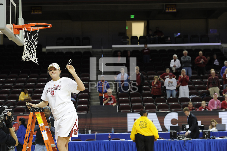 March 14, 2010.  Jayne Appel cuts down the net after the Stanford Cardinal beat the UCLA Bruins to win the 2010 Pac-10 Tournament.