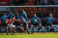 Blackpool's Jimmy Ryan takes a free-kick<br /> <br /> Photographer Richard Martin-Roberts/CameraSport<br /> <br /> The EFL Sky Bet League One - Blackpool v Fleetwood Town - Saturday 14th April 2018 - Bloomfield Road - Blackpool<br /> <br /> World Copyright &not;&copy; 2018 CameraSport. All rights reserved. 43 Linden Ave. Countesthorpe. Leicester. England. LE8 5PG - Tel: +44 (0) 116 277 4147 - admin@camerasport.com - www.camerasport.com