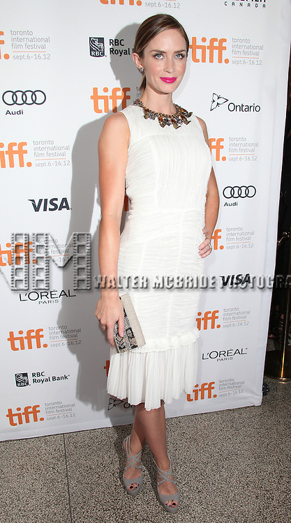 Emily Blunt attending the The 2012 Toronto International Film Festival.Red Carpet Arrivals for 'Arthur Newman' at the Elgin Theatre in Toronto on 9/10/2012