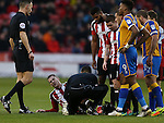 Paul Coutts of Sheffield Utd injured during the English League One match at the Bramall Lane Stadium, Sheffield. Picture date: November 19th, 2016. Pic Simon Bellis/Sportimage