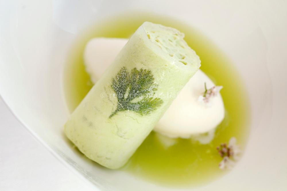 Apple soup, accompanied by yogurt sorbet and coriander canolli, [Soupe de pomme avec sorbet yogourt et canolli avec coriandre] served at restaurant Mirazur, Menton, France, 18 September 2013