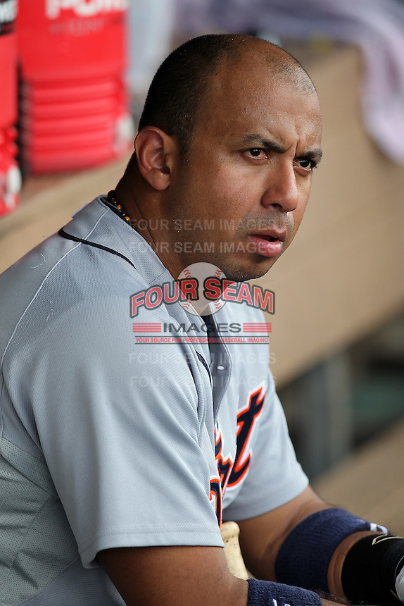 Detroit Tigers second baseman Carlos Guillen #51 watches from the dugout during an Instructional League game against the Philadelphia Phillies at Bright House Field on October 10, 2011 in Clearwater, Florida.  Guillen is rehabbing in the fall league for a strained right calf finishing 0-3 as designated hitter.  (Mike Janes/Four Seam Images)