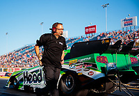 Jun 1, 2018; Joliet, IL, USA; Crew member for NHRA funny car driver Jonnie Lindberg during qualifying for the Route 66 Nationals at Route 66 Raceway. Mandatory Credit: Mark J. Rebilas-USA TODAY Sports