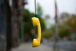 Old pay phone, Streets of New York City, New York, USA