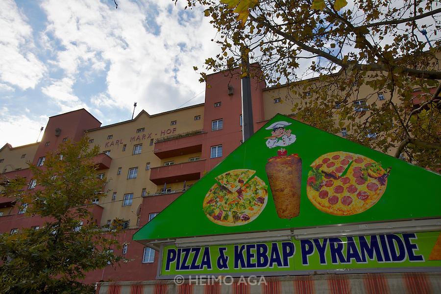 Vienna, Karl-Marx-Hof. Pizza and Kebap Pyramid.
