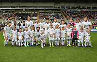 Pictured: Team Adam Woodyatt. Sunday, 01 June 2014<br /> Re: Celebrities v Celebrities football game organised by Sellebrity Scoccer, in aid of Swansea City Community Trust, at the Liberty Stadium, south Wales.