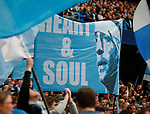 Manchester City fans hold up a banner celebrating Pablo Zabaleta of Manchester City during the English Premier League match at the Etihad Stadium, Manchester. Picture date: May 16th 2017. Pic credit should read: Simon Bellis/Sportimage