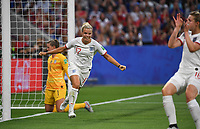 20190702 - LYON , FRANCE : American Rachel Daly (17) pictured celebrating the goal of teammate Ellen White (righ) and the 1-1 equalizer during the female soccer game between England  - the Lionesses - and The United States of America  – USA - , a knock out game in the semi finals of the FIFA Women's  World Championship in France 2019, Tuesday 2 nd July 2019 at the Stade de Lyon  Stadium in Lyon  , France .  PHOTO SPORTPIX.BE | DAVID CATRY
