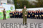 Sergeant Chris Hoare speaks to pupils of Listellick NS on Monday when he delivered the tricolour and Proclamation to  commemorate the 100 year anniversary on Monday