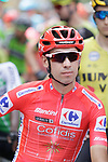 New race leader Red Jersey Nicolas Edet (FRA) Cofidis lined up for the start of Stage 9 of La Vuelta 2019 running 99.4km from Andorra la Vella to Cortals d'Encamp, Spain. 1st September 2019.<br /> Picture: Colin Flockton | Cyclefile<br /> <br /> All photos usage must carry mandatory copyright credit (© Cyclefile | Colin Flockton)