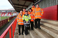 The stewarding team on the North Terrace for the last time during Stevenage vs Reading, Emirates FA Cup Football at the Lamex Stadium on 6th January 2018