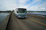 Motorhome on bridge at Florence, Oregon
