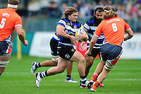 Nick Auterac of Bath Rugby goes on the attack. Aviva Premiership match, between Bath Rugby and Newcastle Falcons on September 10, 2016 at the Recreation Ground in Bath, England. Photo by: Patrick Khachfe / Onside Images