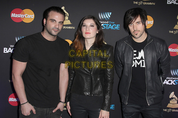 LOS ANGELES, CA - FEBRUARY 12: Sick Puppies at the 2016 Grammys Radio Row Day 1 presented by Westwood One, Staples Center, Los Angeles, California on February 12, 2016.   <br /> CAP/MPI/DE<br /> &copy;DE//MPI/Capital Pictures
