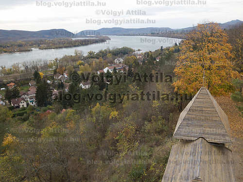 Aerial autumn view of a hilltop watch tower and river Danube in Zebegeny (about 70 kilometres north of capital city Budapest), Hungary on Oct. 28, 2017. ATTILA VOLGYI