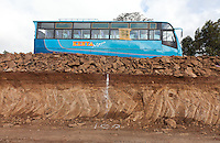 A passenger bus en route to Thika from Nairobi