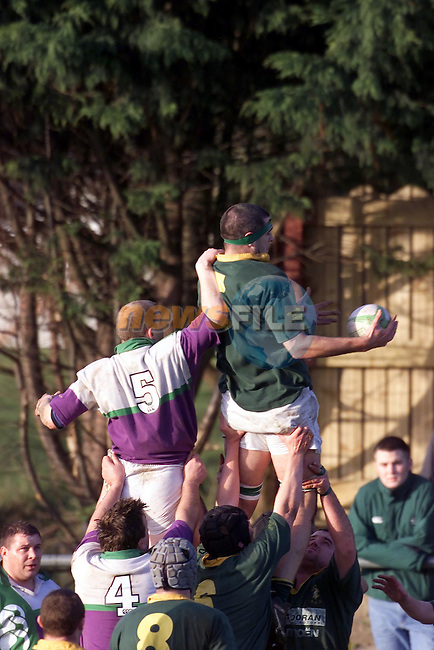 Karl McDonnell beating Cmy to the ball in the line out..Picture Fran Caffrey Newsfile.