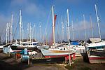 Boats in boatyard at Waldringfield, Suffolk, England, UK