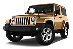 Stock pictures of low aggressive front three quarter view of 2016 JEEP Wrangler Sahara 5 Door SUV Low Aggressive