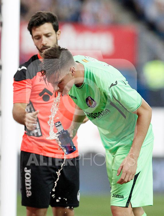 Getafe's Carlos Vigaray injured during La Liga match.September 22,2015. (ALTERPHOTOS/Acero)