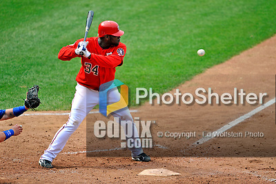 22 June 2008: Washington Nationals' outfielder Elijah Dukes at bat against the Texas Rangers at Nationals Park in Washington, DC. The Rangers defeated the Nationals 5-3 in the final game of their 3-game inter-league series...Mandatory Photo Credit: Ed Wolfstein Photo