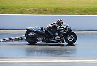 Apr. 29, 2011; Baytown, TX, USA: NHRA pro stock motorcycle rider Matt Smith during qualifying for the Spring Nationals at Royal Purple Raceway. Mandatory Credit: Mark J. Rebilas-