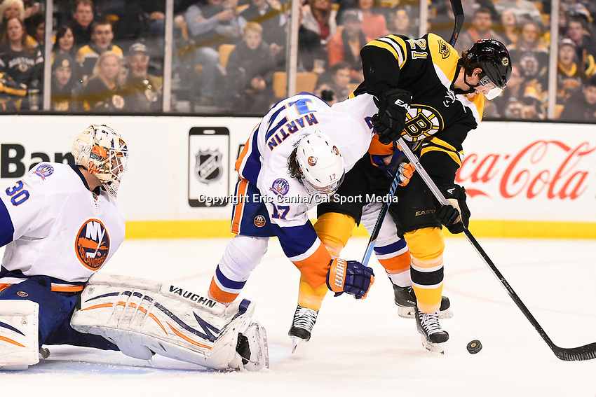 February 7, 2015 - Boston, Massachusetts, U.S. - Boston Bruins left wing Loui Eriksson (21) attacks in front of the goal during the NHL game between the New York Islanders and the Boston Bruins held at TD Garden in Boston Massachusetts.   Eric Canha/CSM