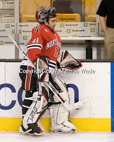 Adam Geragosian (NU - 41) - The Northeastern University Huskies defeated the Harvard University Crimson 3-1 in the Beanpot consolation game on Monday, February 12, 2007, at TD Banknorth Garden in Boston, Massachusetts.