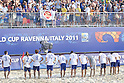 Japan team group (JPN), SEPTEMBER 02, 2011 - Beach Soccer : Japan team group bows to the fans after the FIFA Beach Soccer World Cup Ravenna-Italy 2011 Group D match between Japan 2-3 Mexico at Stadio del Mare, Marina di Ravenna, Italy, (Photo by Enrico Calderoni/AFLO SPORT) [0391]